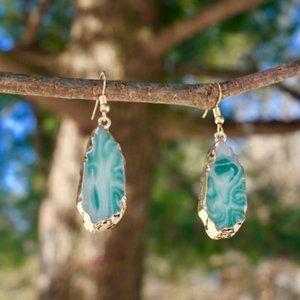 New Sliced green agate Dangle Teardrop earrings